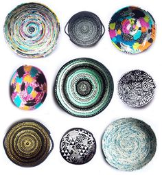 rope bowls online class with alisa burke Metal Crafts, Diy Arts And Crafts, Fabric Crafts, Sewing Crafts, Alisa Burke, Burlap Canvas, Fabric Bowls, Ceiling Art, Crochet Quilt