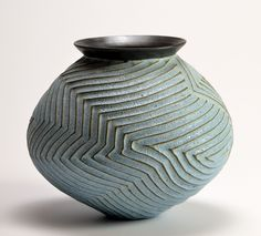^Light Blue Geo Vase: Boyan Moskov: Ceramic Vase - Artful Home