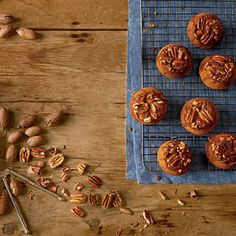 Candied Pecan Upside Down Pumpkin Muffins