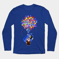 Old 10th Doctor with Flying Baloons blue phone box doctorwho  Long Sleeve T-Shirt #LongSleeve #TShirt #tee #clothing #booklover #fictionalcharacters #fandoms #books #geek #nerd #fangirl #sherlock #whovian #typography #davidtennant #10thdoctor #tardis #daleks #11thdoctor #12thdoctor #mattsmith #eleventhdoctor #tenthdoctor #up #baloons