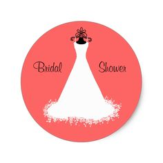 Pretty Coral Bridal Shower Envelope Seal Classic Round Sticker