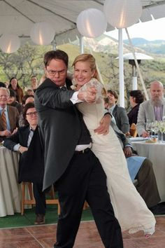dwight & angela's wedding in the last episode of the office.