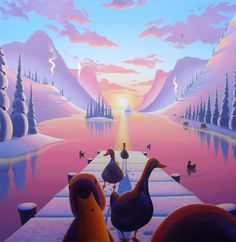 Return Of The Lakes Lovers - Box canvas by Derrick Fielding // exVAT - Prints & Sculptures - off. Art Painting, Sculptures, Artist Inspiration, Lovers Art, Lake Lovers, Painting, Illustration Art, Art, Prints