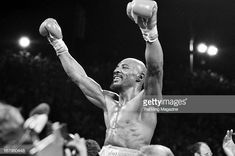 Marvin Hagler celebrates winning the fight against Thomas Hearns at Caesars Palace on April 15 1985 in Las Vegas Nevada Marvin Hagler won the WBC. Marvelous Marvin Hagler, Caesars Palace, Wbc, Las Vegas Nevada, Boxer, Athlete, Celebrities, Pictures, Photos