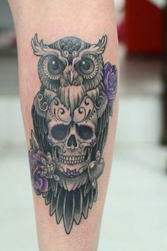 Owl with Skull. Done at Studio Lotus, Campinas-SP, BRAZIL. Deborah (Deh) Soares. More : facebook.com/studiolotustatuagem