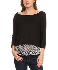 Love this Black & White Sheer Lace-Hem Hi-Low Top - Plus on #zulily! #zulilyfinds