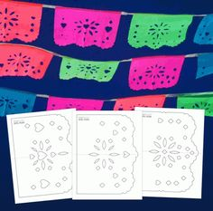 Easy DIY papel picado templates Party decoration ideas for any Holiday festive celebrations. 3 easy to make DIY papel picado templates and instructions included. Diy Décoration, Easy Diy, Day Of The Dead Party, Mexican Fiesta Party, Birthday Party Celebration, Quinceanera Party, Thinking Day, Printable Crafts, Printables