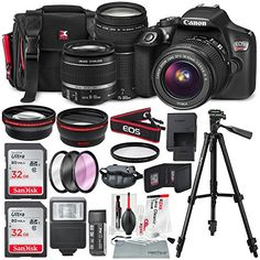 Canon EOS Rebel T6 DSLR Camera with EF-S 18-55mm f/3.5-5.6 IS II Lens, EF 75-300mm f/4-5.6 III Lens, 64GB, along with Fibertique Cleaning Cloth, and Xpix cleaning Kit and Deluxe Accessory Bundle - A2Z Shop Dslr Nikon, Dslr Cameras, Nikon D5200, Leica Camera, Film Camera, Camara Canon Eos, Canon Eos Rebel T6i, Dslr Photography Tips, Photography Equipment