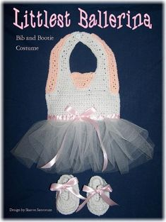Littlest Ballerina Bib and Bootie Set Crochet Pattern PDF | Etsy Crochet Baby Bibs, Crochet Toddler, Cute Crochet, Crochet For Kids, Crochet Clothes, Easy Crochet, Baby Knitting, Crochet Outfits, Booties Crochet