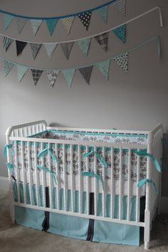 Gray and aqua nursery, inspired by Michael Miller It's A Boy Thing color story.