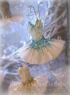 'Turquoise Tinsel' miniature papier maché and crepe paper dress