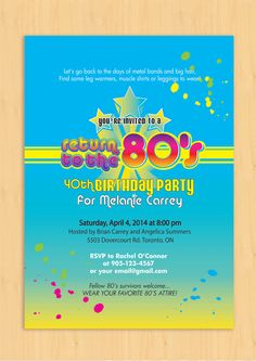 Custom Printable 80's theme Party Invitation by PaperGemsShoppe, $16.99