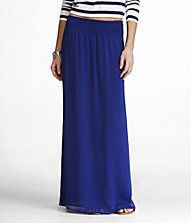 """Blue Maxi skirt.   """"The modern maxi, in a gauzy fabric that moves with you. Flows from a wide waistband with light elasticity"""""""