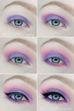 Purple & pink pastel makeup