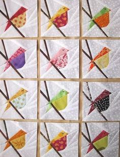 Cute idea for a bird quilt or wall hanging.