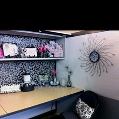 Cubicle  - Elegant  Like the wall art and the Laugh font/color