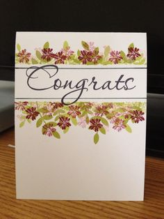 "Using Tapestry stamps; add a bit of glitter to flower centers to add pop or use other per ""bling"" for the flower centers Card Making Tutorials, Making Ideas, Penny Black, Cardio Cards, Magenta, Art Impressions Stamps, Card Io, Some Cards, Congratulations Card"