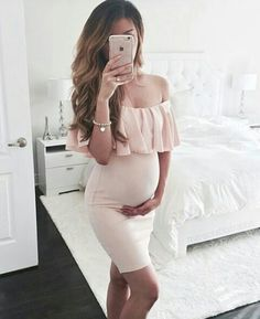 Simple Cheap Chic, Shop Pink Off Shoulder Ruffle Bodycon Maternity For Babyshower Elegant Party Mini Dress online. Cute Maternity Outfits, Stylish Maternity, Maternity Pictures, Maternity Wear, Maternity Dresses, Maternity Fashion, Maternity Styles, Maxi Dresses, Casual Dresses