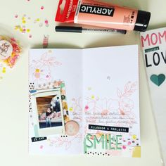 Quick lay-out about my cute nieces during our birthdayparty #travelersnotebook #instax #heidiswappstencils #bloomcollection #gathercollection #sequinlove #neatandtangled #amsterdampaint