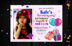 Birthday invitations for girls, 5th birthday invitations for girls, Birthday party invitations, Birthday invitation template, Pink invite by PrintablesForEvents on Etsy