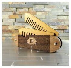 Walnut Wood and Bamboo Beard and Mustache Folding Comb #Bamboo, #comb, #WoodenGadgets