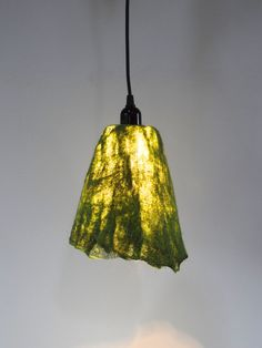 Handfelted Lampshade Emerald Green Pendant Lamp By Atelierflorine