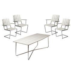 Önsketrädgårdsmöblerna  4 st fåtölj A2 + bord B30 190 cm, vitlack – Grythyttan Stålmöbler – Köp online på Rum21.se