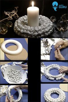 With the Toppits® Recycling aluminum foil at dm you can not only keep your food fresh, but also you umbeweltbewusst own Advent wreath basteln.🎄💫Wie it works and what you need for that? Look for one of our - Guidance in the picture on. Noel Christmas, Christmas Wreaths, Christmas Decorations, Xmas, Ideas Dormitorios, Advent Wreath, Diy Fireplace, Diy Décoration, Holiday Crafts