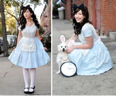 Another sweet Alice costume, though this one earns extra points for managing to get her pup into rabbit ears. Halloween Peeps, Cool Halloween Costumes, Halloween Stuff, Halloween Party, Dress Up Costumes, Diy Costumes, Costume Ideas, Alice In Wonderland Costume, Wonderland Party