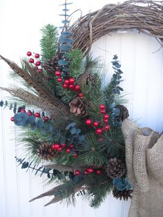 Christmas Wreath with Burlap  Rustic and Natural with by ATPitman