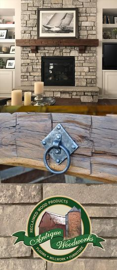 Rustic Fireplace Mantel Beams with Metalwork