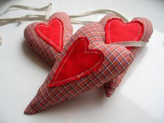 Christmas red heart on a long ribbon  set of 3  by LolaaCreates, zł49.00