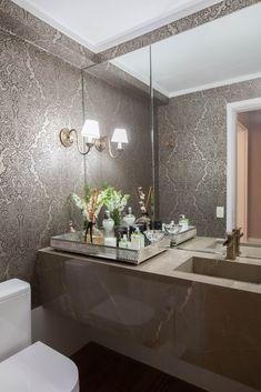 Nail Salon Decor, Marble Tray, Dream House Interior, Guest Bath, Interiores Design, E Design, Double Vanity, New Homes, Red Gold