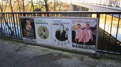 Bamberg: Wechselrahmen im 4/1-Format an Brückengeländern oder Fußgängerschutzgittern. Vielfältig einsetzbar sowohl für großflächigere Werbung im Zirkusformat als auch für vier einzelne DIN A1 Plakate. http://www.stroeer-direkt.de/nc/bamberg-09461000/96001/werbemedien/kategorie/kulturmedien/produkt/brueckenwerbung-3.html