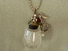 Vintage bottle necklace .
