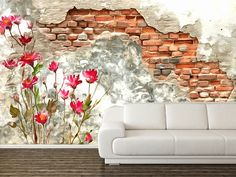 You can buy this #photomural directly from the author on self-adhesive viny #wall #walldecor #decoration #love #home #homesweethome #homedecor # flower #flowers #brick #vinyl #selfadhesive