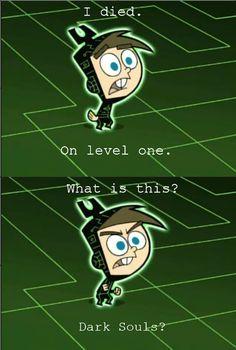 Dark Souls x Fairy Oddparents meme Video Game Logic, Video Games Funny, Funny Games, Funny Videos, Funny Gaming Memes, Gamer Humor, Hilarious Memes, Kingdom Hearts, Final Fantasy