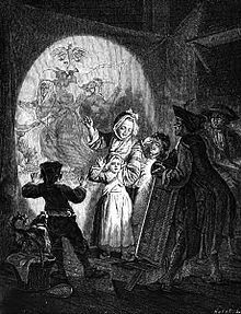 Phantasmagoria was a form of theatre which used a modified magic lantern to project frightening images such as skeletons, demons, and ghosts onto walls, smoke, or semi-transparent screens, frequently using rear projection.