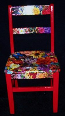 decoupage furniture--I have an ugly white chair like this .