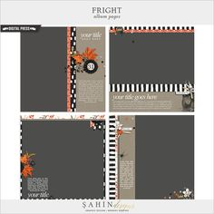 Fright Album Pages save your precious time and gives you well designed pages ready to print! In this edition you will get four quick pages showcasing big photos of your Halloween memories.