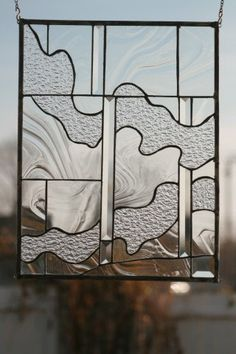 Ripples Stained Glass Window Panel by loveofstainedglass on Etsy, $130.00