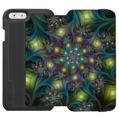 Illuminated modern blue purple Fractal Pattern iPhone 6/6s Wallet Case - light gifts template style unique special diy