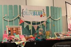 blue fence craft booth set up