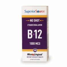 Superior Source Vitamin B12 1000mcg (Cyan.) (100 tablets) by Lexor Health. Save 23 Off!. $9.95. Vitamin B12 supplements for healthy heart and brain.. Vitamin B12 supplements for energy boost, cardiovascular health. stamina, brain support, red blood cells, healthy nerves, mental alertness, homocysteine levels. Superior Source No Shot Vitamin B12 (as Cyanocobalomin) Sublingual Micro Tablets go to work fast, bypassing the digestive system as they are quickly absorbed directly in...
