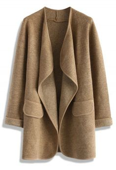 Just Knitted Open Coat in Brown