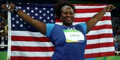 Michelle Carter is the first American to win Gold in the Shoto Put event! #BlackGirlMagic, indeed! Photo by: Cameron Spencer/Getty Images