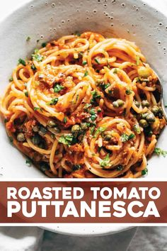 The easiest Roasted Tomato Puttanesca with all the silky, all the briney, and all the zippy summer freshness. Roast up your veggies on a sheet pan, blend into a sauce, and toss it with your noodles. Vegan Recipes Easy, Pasta Recipes, Italian Recipes, Vegetarian Recipes, Dinner Recipes, Cooking Recipes, Dinner Entrees, Beef Recipes, Roasted Tomato Pasta