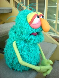 Blue Furry Monster Muppet Style Hand Puppet by blankpuppets