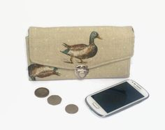 Clutch Purse, Wallet, Evening bag, Duck, Mallard Duck, Necessary Clutch, Coin purse, Credit Card Holder, Mothers Day, gifts for her, by BeesAttic on Etsy https://www.etsy.com/uk/listing/482786138/clutch-purse-wallet-evening-bag-duck