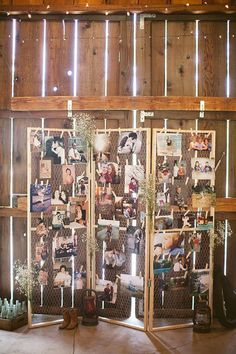 budget rustic wedding decorations photo display in the barn heatherarmstron photography #rusticwedding